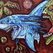 Zombie Eats Shark Art Print