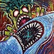 Zombie Shark Fight Art Print