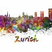 Zurich Skyline In Watercolor Art Print