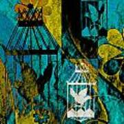 3 Caged Birds Grunge Art Print