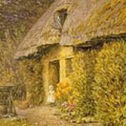 A Child At The Doorway Of A Thatched Cottage  Art Print