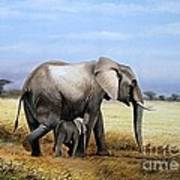 Elephant And Her Child Art Print