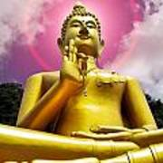 Golden Love Buddha Art Print