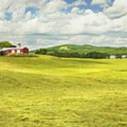 Hay Harvesting In Field Outside Red Barn Maine Art Print