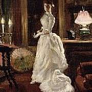 Interior Scene With A Lady In A White Evening Dress  Art Print