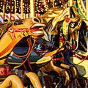 Wild Carrousel Horses  Art Print