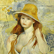 Young Girl With A Straw Hat Art Print