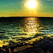 0001 Windy Waves Sunset Rays Art Print