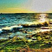 00015 Windy Waves Sunset Rays Art Print