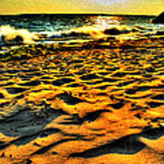 0008 Windy Waves Sunset Rays Art Print