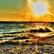 0009 Windy Waves Sunset Rays Art Print