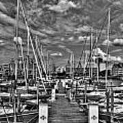 005bw On A Summers Day  Erie Basin Marina Summer Series Art Print