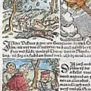 1557 Lycosthenes Rain Of Stones Meteorite Art Print