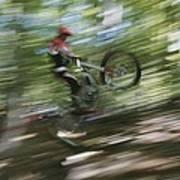 A Boy Flies Through The Air Art Print