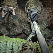 A British Army Sniper Team Dressed Art Print