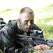 A British Soldier Armed With A Sa80 Art Print