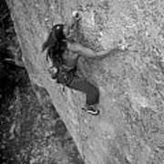 A Caucasian Women Rock Climbing Art Print