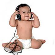 A Chubby Little Girl Listen To Music With Headphones  Art Print