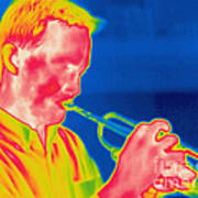 A Thermogram Of A Musician Playing Art Print