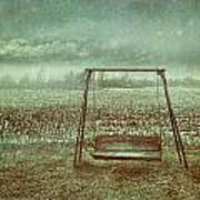 Abandoned  Swing In First Snow Storm Of Winter Print by Sandra Cunningham