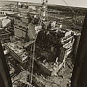 Aerial View Of Chernobyl Soon After The Accident. Art Print