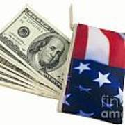 American Flag Wallet With 100 Dollar Bills Print by Blink Images