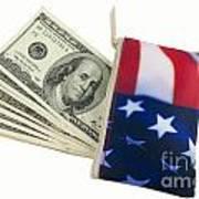 American Flag Wallet With 100 Dollar Bills Art Print