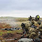 An 81mm Mortar Team Live Firing Art Print