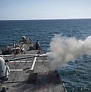 An Mk-45 Lightweight Gun Is Fired Art Print