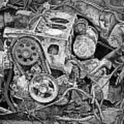Auto Engine Block From A Wrecked Car Art Print