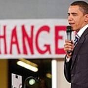 Barack Obama On Stage For Barack Obama Art Print by Everett