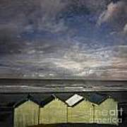 Beach Huts Under A Stormy Sky Vintage-look. Normandy. France Art Print