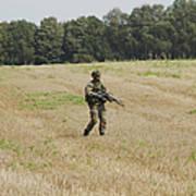Belgian Paratroopers Proceeding Art Print by Luc De Jaeger
