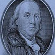 Ben Franklin In Cyan Art Print