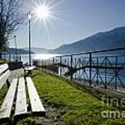 Bench In Backlight Art Print