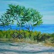 Bikes Waiting Art Print