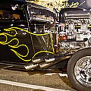 Black Hot Rod Big Engine Art Print