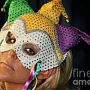Blond Woman With Mask Art Print by Henrik Lehnerer