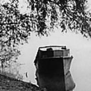 Boat On Foggy Rhine Art Print