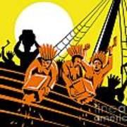 Boston Tea Party Raiders Retro Art Print by Aloysius Patrimonio
