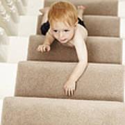 Boy Climbing Stairs Art Print