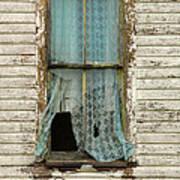 Broken Window In Abandoned House Art Print by Jill Battaglia