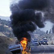 Car In Flames Art Print by Kaj R. Svensson