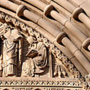 Carved Stone Biblical Mural Above Catholic Cathedral Doorway Art Print