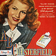 Chesterfield Cigarette Ad Print by Granger