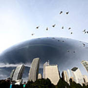 Chicago Cityscape The Bean Art Print