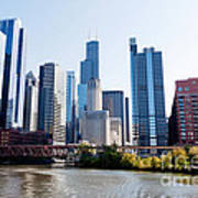 Chicago River Skyline With Sears-willis Tower Art Print