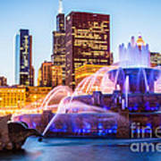 Chicago Skyline At Night With Buckingham Fountain Art Print by Paul Velgos