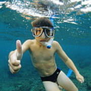 Child Snorkelling Print by Alexis Rosenfeld