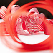 Close Up Of Decorative Red Ribbons Art Print